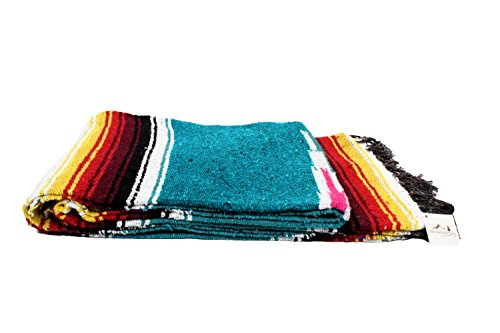 Teal / Turquoise Diamond Navajo Mexican Yoga Blanket, Thick Serape with Red and Yellow Sunset Stripes — Handmade