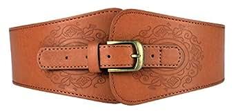 Motase Cinturones de Mujer Cuero de Imitación Elástico Ancho con ... 6884fc8b4d97
