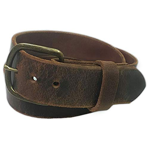 - Jean Belt, Brown Crazy Horse Water Buffalo Leather, 9 Ounce - Antique Buckle - Handmade in the USA! By Exos - Size: 50