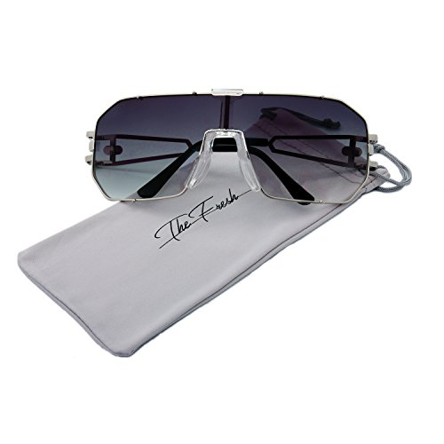 The Fresh Gradient Color Single Lens Metal Wraparound Shield Sunglasses with Gift Box (1-Silver, Grey Gradient)