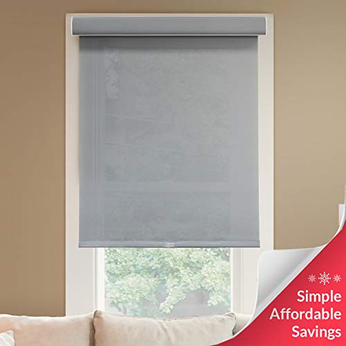 "Chicology Deluxe Free-Stop Cordless Roller Shades, No Tug Privacy Window Blind, Pebble (Light Filtering), 34""W X 72""H"