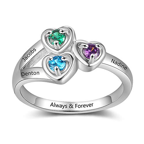 - Mother's Simulated Birthstone Heart Ring Engraved 3 Grandkids Name Personalized Jewelry for Mom (9)