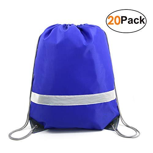 (Blue-Drawstring-Backpack-Bags Bulk Reflective Cheap Gym Sack Pack Sports Cinch Bag 20)