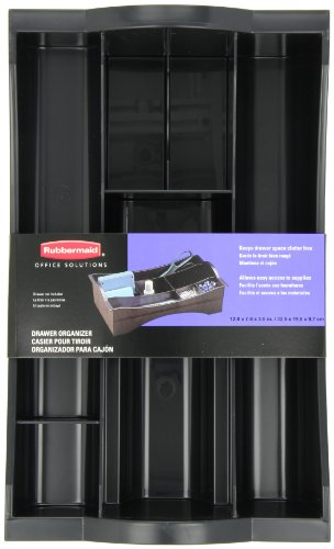 Rubbermaid Hanging Desk Drawer Organizer, Plastic, Black (11916ROS) ()