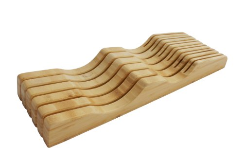 In-Drawer Bamboo Knife Block without Knives. Knife Storage and Organizer holds 10-15 knives by Shenzhen Knives (Knife Block Drawer Insert compare prices)
