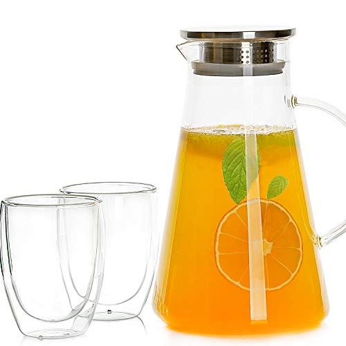 9 Inch Pitcher - Glass Pitcher with Stainless Steel Lid (68 Ounces)/ Water Carafe with Handle for Homemade Juice & Iced Tea