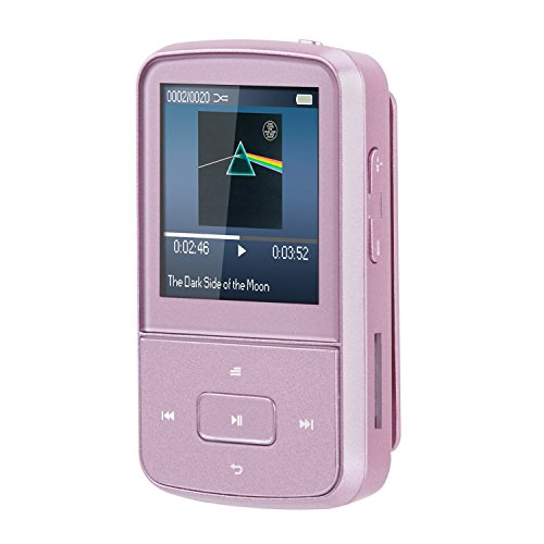 AGPtEK G05S 8GB Clip Bluetooth MP3 Player, Lossless Sound,Supports up to 64GB, Pink