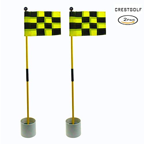 2018 New-arrival Detachable Portable Backyard Practice Golf Hole Pole Cup Flag Stick, golf Putting Green Flagstick 2 sets count (2cups, 2flags and 2poles) (black-yellow)