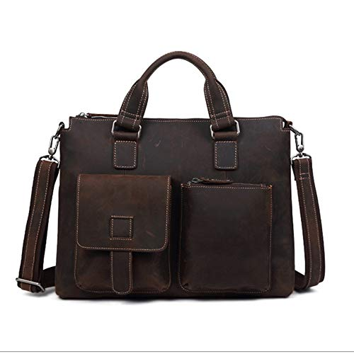 Handmade Leather Briefcase Leather Laptop Bag, Travel Briefcase with Card Organizer, Large Hybrid Shoulder Bag, Water Resisatant Business Messenger Briefcases for Men and Women Fits 14 Inch Laptop, Co