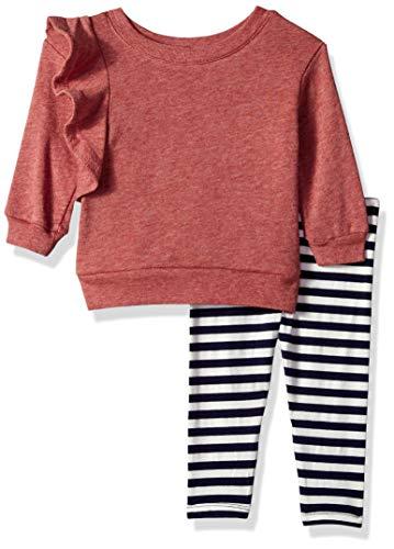 Splendid Baby Girls Ruffle Sweatshirt Set, Winter Rose, 18/24 mo