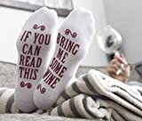 """""""Bring Me Some Wine"""" Luxury Combed Cotton Socks with Gift Box - Perfect Hostess or Housewarming Gift Idea for Women, Cute Christmas Present for Wine Lover, New Mom or Wife - By Haute Soiree"""