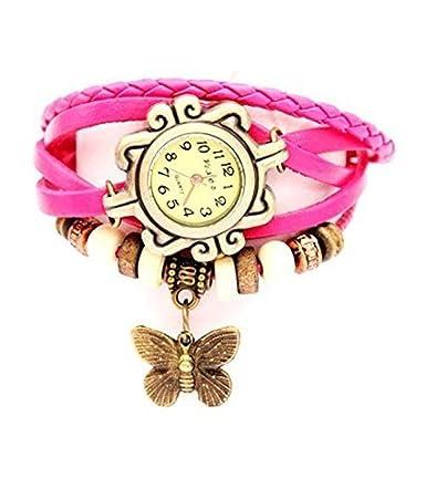 Vintage Pink Round Dial Women Watche