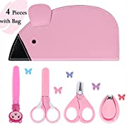 Eggsnow Baby Grooming Kit(4 Pieces) Newborn Manicure Set Infant Nail Clippers Set Include 2 Safety Scissors Nail Clipper Nail File with Cute Carry Bag Perfect Shower Gift for Baby Girls and Boys-Pink