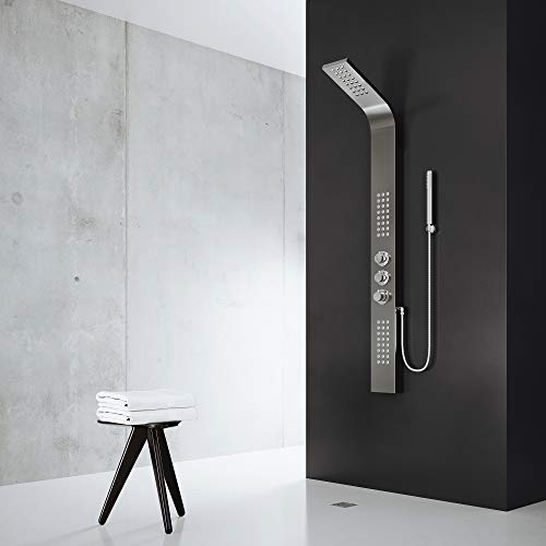 VIGO Sutherland Rain Waterfall Shower Panel with Jets and Hand Shower, Gunmetal