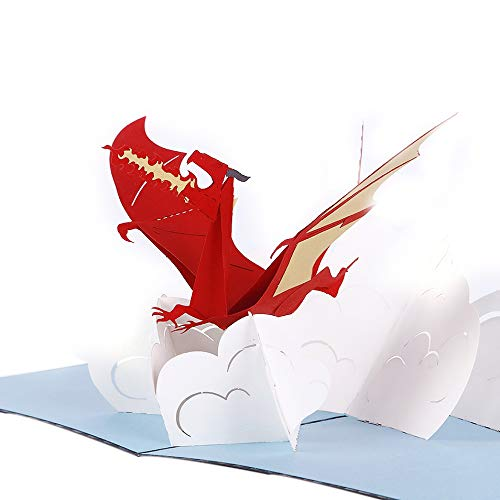 Liif Fiery Dragon Pop Up Card For All Occasions, Pop Up Birthday Card, Happy Birthday Card For Boyfriend, Men, Fathers Day Card, Congratulations Card, Thinking Of You, Dragon ()