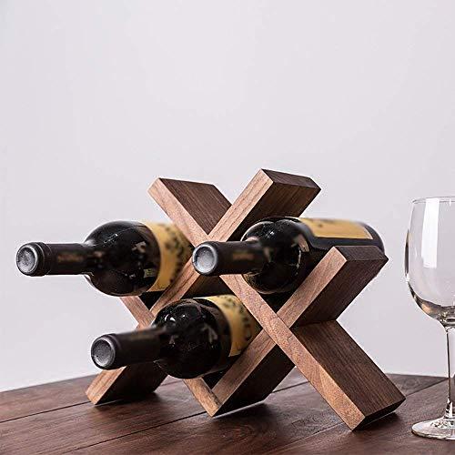 Lattice Bottle - XQY Home Wine Rack, Decorative Wine Rack, Restaurant Decoration Wine Rack,Solid Wood Wine Shelf Diamond Bottle Cabinet Living Room Lattice European Style,Black Walnut Color