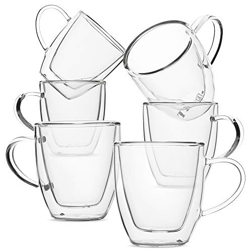 Safe Dishwasher Espresso Cups - BTäT- Small Espresso Cups, Demitasse Cups, Set of 6 (2.0 oz, 60 ml), Glass Coffee Mugs, Double Wall Glass Cups, Cappuccino Cups, Latte Cups, Clear Coffee Cup, Tea Glass, Espresso Glass, Glass Tea Cups