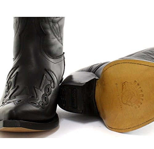 Grinders Hombres Botas de vaquero de cuero real - Arizona Hi Negro