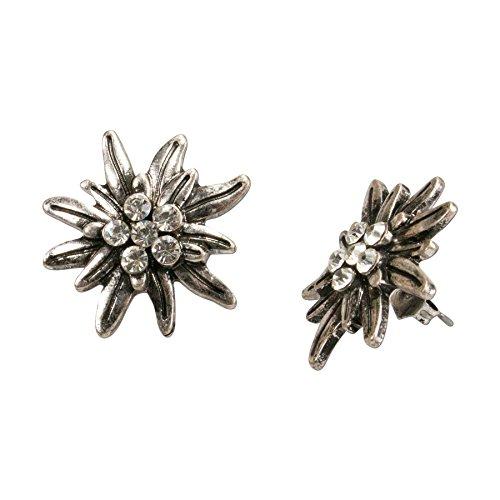 Bavarian Earrings Edelweiss Flower with Rhinestones (Clear) - Traditional German Dirndl, Lederhose Jewelry