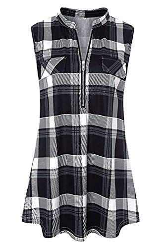 Sleeveless Black (Cyanstyle Women's V Neck Zip Up Casual Tank Top Flaps at Chest Sleeveless Tunic Black Plaid S)