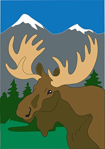 Moose in the Snow Capped Mountains 42 x 29 Rectangular Double Applique Large House Flag Moose Trail Lodge