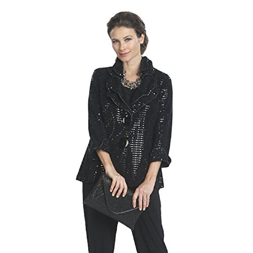 IC Collection Shimmer Jacket in Black - 5174J (Large) for sale  Delivered anywhere in USA