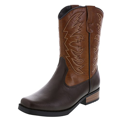 SmartFit Boys' Brown Boys' Square Toe Western Boot 3 Regular (Boys Size 3 Cowboy Boots)