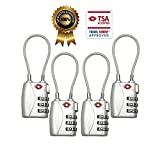 TSA Luggage Locks (4Pack) - 3 Digit Combination Padlocks - Approved Travel Lock for Suitcases & Baggage (Silver)