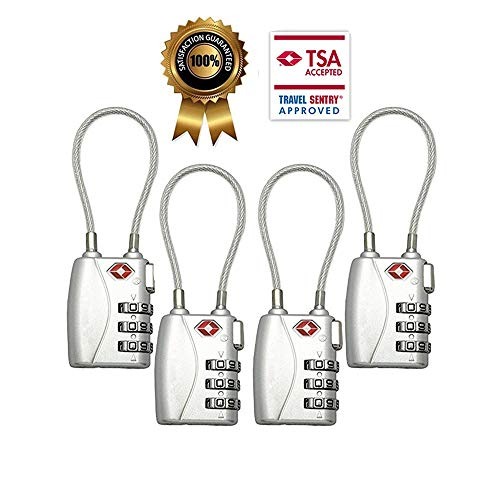TSA Luggage Locks (4Pack) - 3 Digit Combination Padlocks - Approved Travel Lock for Suitcases & Baggage (Silver) by Cluckyu