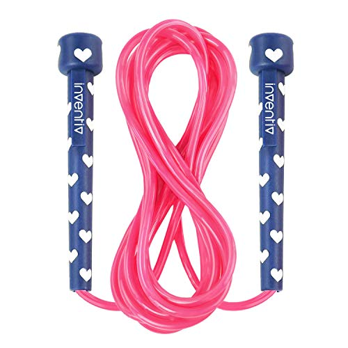 Inventiv Kids Jump Rope, Cute Colorful Designs, 9ft Adjustable Length, Quality PVC, Suitable for Children, Adults, Fitness, or Play (Hearts | Navy/Pink)