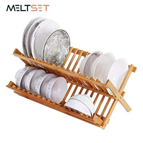 (Tini Hangers&Hooks&Holders - Bamboo Wood Kitchen Folding Shelf Plate Dish Tray Storage Holder Tableware Rack Drainer Double Layer Cutlery Bowl Organizer Home 1 Pcs )