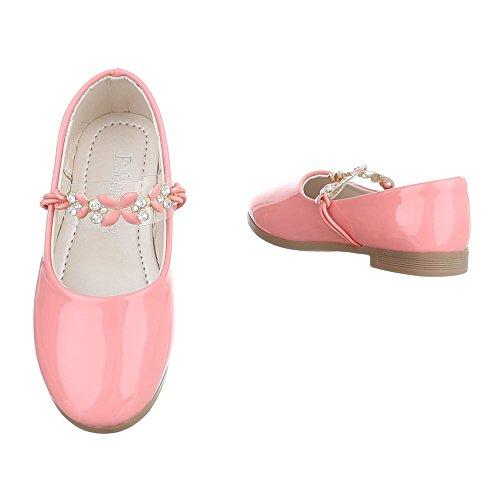 Ital-Design Halbschuhe Kinderschuhe Oxford Blockabsatz Mädchen Ballerinas Rosa H51-2