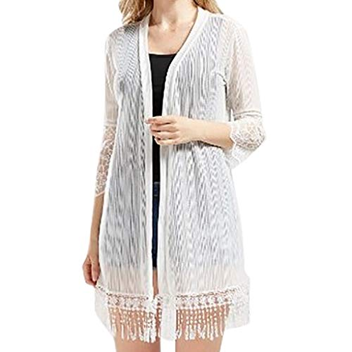 (Womens Sexy Tops 2019, YEZIJIN Fashion Women Sunscreen Shirt Cardigan Long Sleeve Tassels Leisure Blouse White)