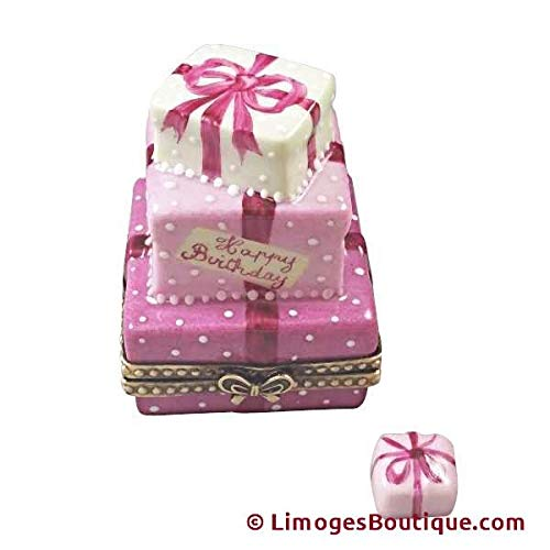 - PINK BIRTHDAY CAKE WITH PRESENT - LIMOGES BOX AUTHENTIC PORCELAIN FIGURINE FROM FRANCE