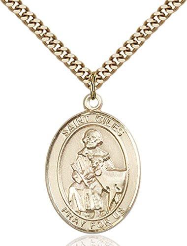 14K Gold Filled Catholic Saint Giles Medal, 1 Inch Giles Medal