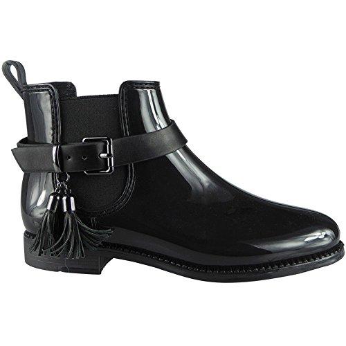 de negras 3 tobillo de tobillo de para para 8 plano Chelsea Botas de el mujer tamaño invierno agua xTwqZBCY