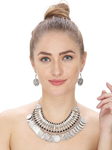 Extension Oxidized Bead Necklace (Aradhya Women's Oxidized Silver Necklace With Earrings)