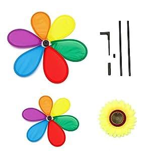 foxde Tech girasol Spinner Rainbow Whirligig rueda de molino