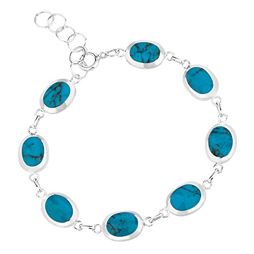 (Chuvora 925 Sterling Silver Reconstructed Blue Turquoise or Mother of Pearl Wrap Bracelet, 6.5-7.5