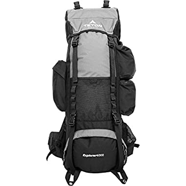 TETON Sports Explorer 4000 Internal Frame Backpack; Great Backpacking Gear; Hiking Backpack for Camping and Hunting; Metallic Silver