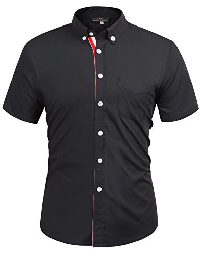 Men's Slim Fit Casual Shirts Button Down Shirt KL-1,Black,Medium