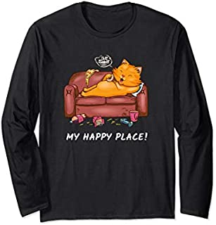 Cat My Place  Couch Lover Fast Food Loafer Long Sleeve T-shirt | Size S - 5XL
