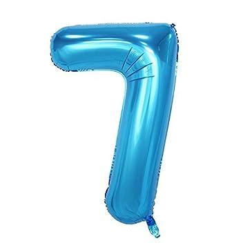 ShopVip Globos de cumpleaños - número 7 - Decoración Cumpleaños gigante de bodas 80 CM - Número de globo gigante azul - Número de globo 7 años - ...