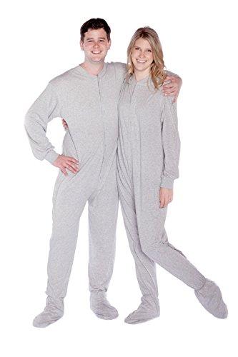 Big Feet PJs Grey Jersey Knit Adult Footed Pajamas No Drop Seat - Jersey Knit Pajamas Footed