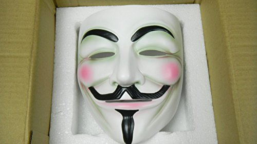 SPOD® New Resin V for Vendetta Mask Anonymous Guy Fawkes Cosplay Costume Fancy Party Mask (White)