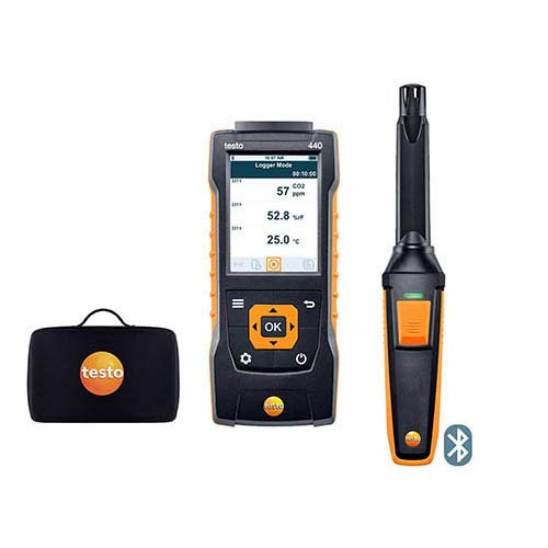 Testo 0563 4405, 440 CO2 Kit with Bluetooth, 440 Air Velocity with CO2 Probe and Case, 1 Kit