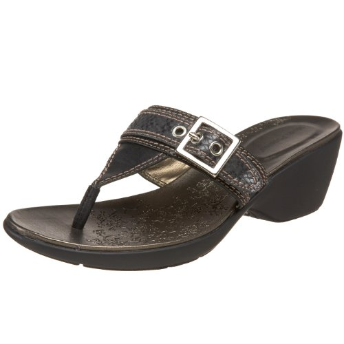 Hush Puppies Women's Daystar Thong Sandal,Black Leather/Snake,9 M US