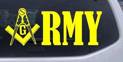 8in X 3.1in Yellow -- Masonic Freemason Army Military Car Window Wall Laptop Decal Sticker