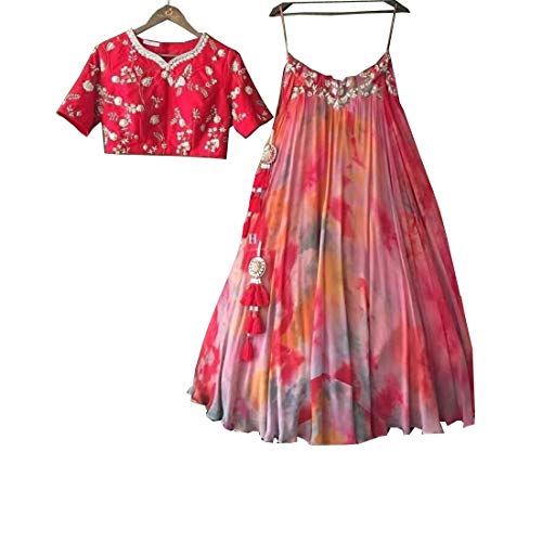 Mujeres Diseñador Amit Para Fashions Semi Puntada Lehenga Indio Choli Exclusivo zZBqC