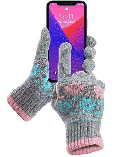 (GreatShield Cozy Series Touch Screen Wool Gloves with Superb Accuracy on 10 Fingertips and Both Palms - 95% Conductive Lambswool for Fall Winter Works with All Touch Screen Devices for Men & Women)